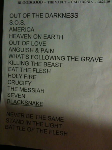 setlist I tweeted prior to showtime, hehe