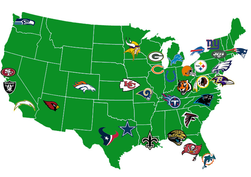 Map us football teams nfl tv distribution maps nfl team us map radical realignment sciox Choice Image